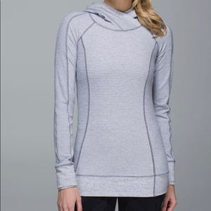Lululemon Think fast hoodie 4. Gray /white